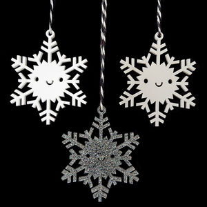 Happy Snowflake Christmas Ornament