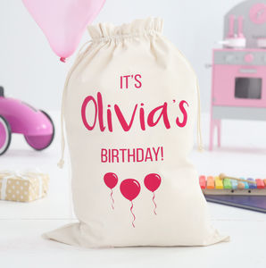 Personalised Birthday Sack Girls - storage bags