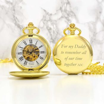 Gold With Roman Numerals Personalised Pocket Watch