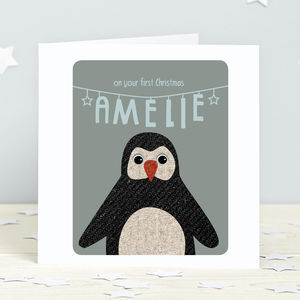 First Christmas Penguin Personalised Card - cards & wrap