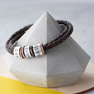 Mens Leather And Silver Story Bracelet - sale