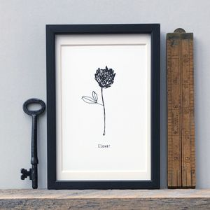 Monochrome Clover Botanical Screen Print - posters & prints