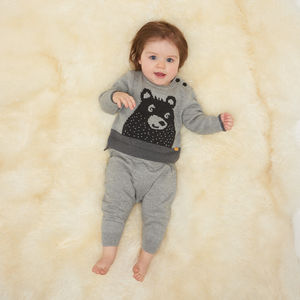 Grizzly Bear Motif Baby Jumper - babies' jumpers