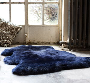 Luxurious Midnight Blue Sheepskin Rug - living room