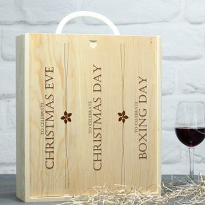 Personalised Christmas Three Bottle Wine Box