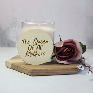 'Queen Of All Mothers' Candle With Wooden Lid