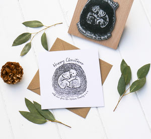 Christmas Card Stamp With Bear Cubs - christmas sale
