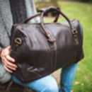 Luxury Dark Brown Thick Oiled Leather Holdall