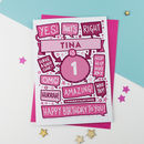 1st Thats Right Personalised Birthday Card Pink