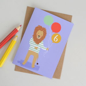 Age Six Lion Children's Birthday Card - birthday cards