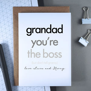 Grandad You're The Boss | Father's Day Card