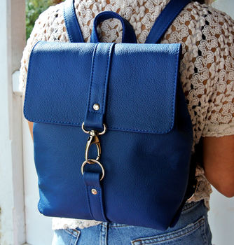 Handcrafted Small Royal Blue Backpack
