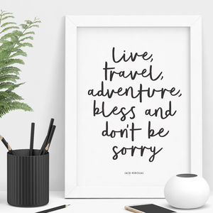 'Live Travel Adventure Bless' Typography Print - typography