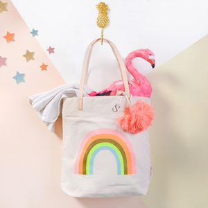Rainbow Print Canvas Tote Bag With Tassle - children's accessories