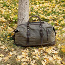 Unisex Waxed Canvas Travel Holdall Bag