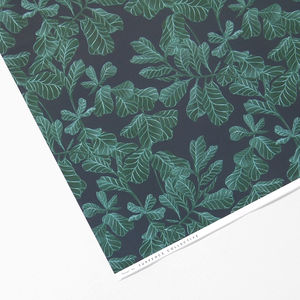 Dark Botanical Leaf Wrapping Paper