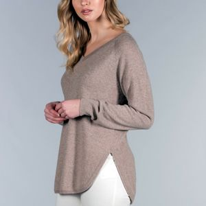 100% Cashmere Relaxed V Neck Tunic Jumper - women's fashion