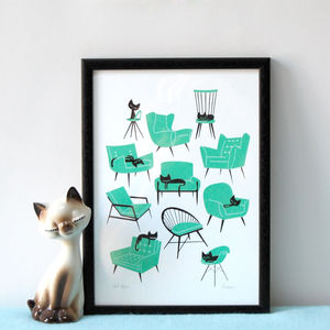 Cat Naps Screen Print - animals & wildlife