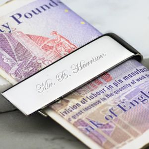Silver Money Clip - personalised gifts