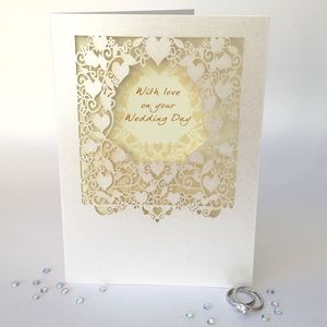 With Love On Your Wedding Day Delicate Cut Card - wedding cards