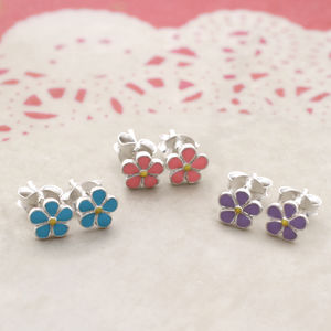 Sterling Silver And Pastel Enamel Daisy Earrings
