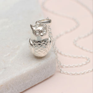 Personalised Sterling Silver Owl Necklace