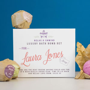 Gift For Her Personalised Bath Bomb Set