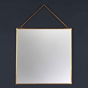 Square Brass Wall Hanging Mirror