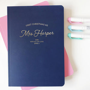 First Christmas As Mrs… Personalised Foiled Notebook - notebooks & journals