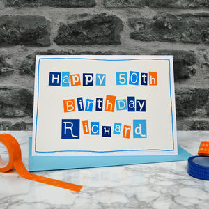 Personalised Mens 50th Birthday Card