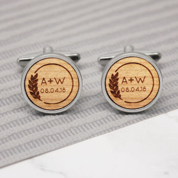 Personalised Leaf And Initial Cufflinks