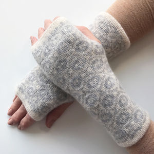 Ladies Knitted Fingerless Mittens Ogee Pattern - womens