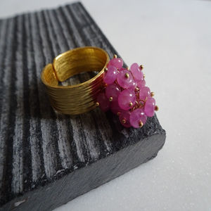Adjustable Pink Sapphire Cluster Ring