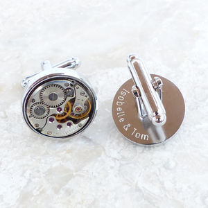 Personalised Vintage Round Watch Movement Cufflinks - gifts £25 - £50 for him