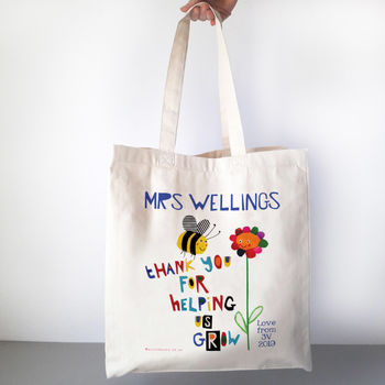 Personalised Thank You For Helping Me Grow Teacher Bag, bee & flower design - CANVAS bag