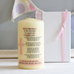 Personalised Christening Candle With Verse For Girl