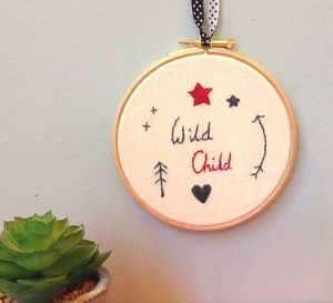Wild Child Hand Embroidered Hoop Art - pictures & prints for children