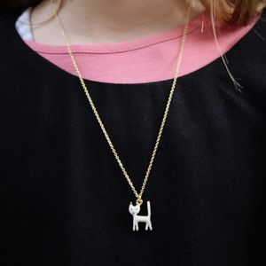 Children's White Cat Necklace