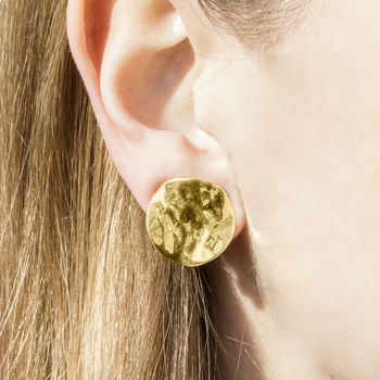Gold Textured Clip On Earrings