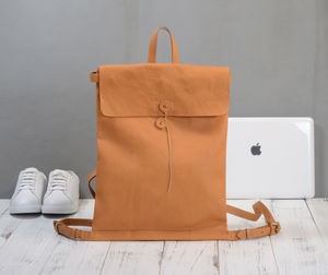 Grain Leather Folder Style Backpack