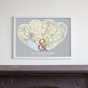 Personalised Postcodes Couples Map Print - frequent traveller