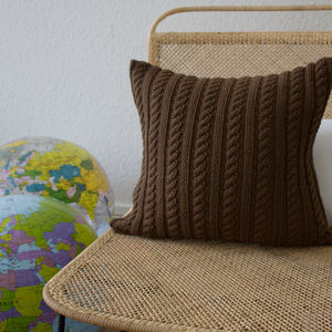 Strikk Hand Knit Twisted Cable Cushion In Chocolate