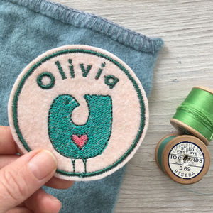 Personalised Embroidered Patch 'Bird'