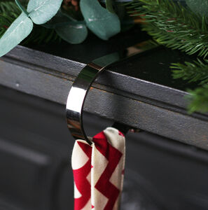 Mantle Clip Stocking Holder Plain Silver