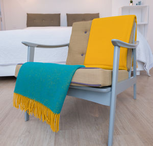 Mustard And Jade Soft Wool Blanket - throws, blankets & fabric