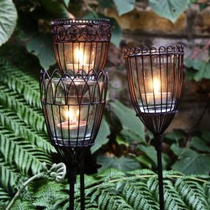 Three Wire Tealight Garden Stakes - christmas sale