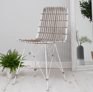 Rattan Scandi Style Dining Chair Three Colours - furniture