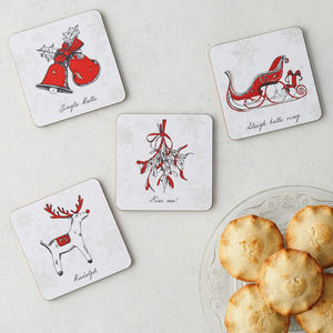 Christmas Set Of Four Coasters