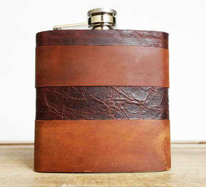 Customised Leather Hip Flask With Mixed Leathers