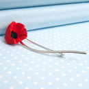 Poppy With Sterling Silver Stem Brooch